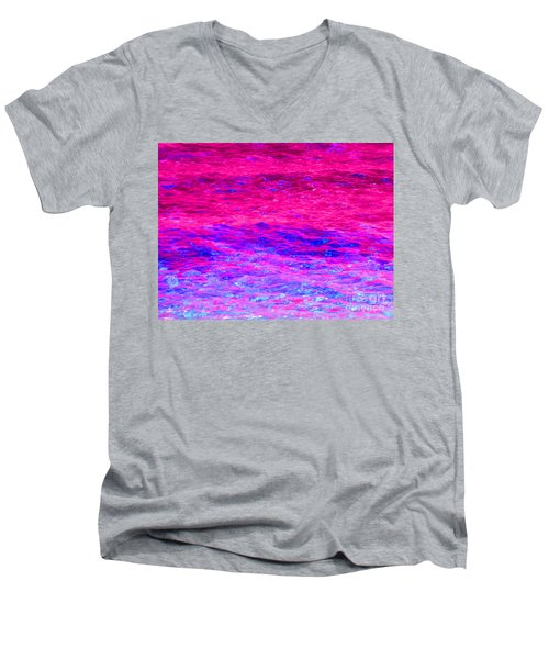 Pink Fantasy Waters Abstract Men's V-Neck T-Shirt