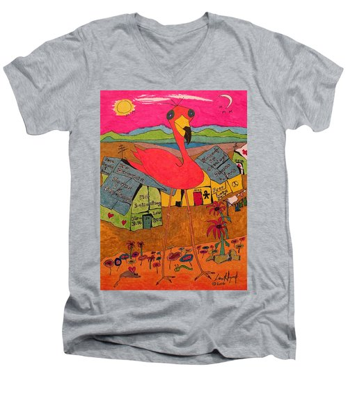 Pink Flamingo Camp Men's V-Neck T-Shirt