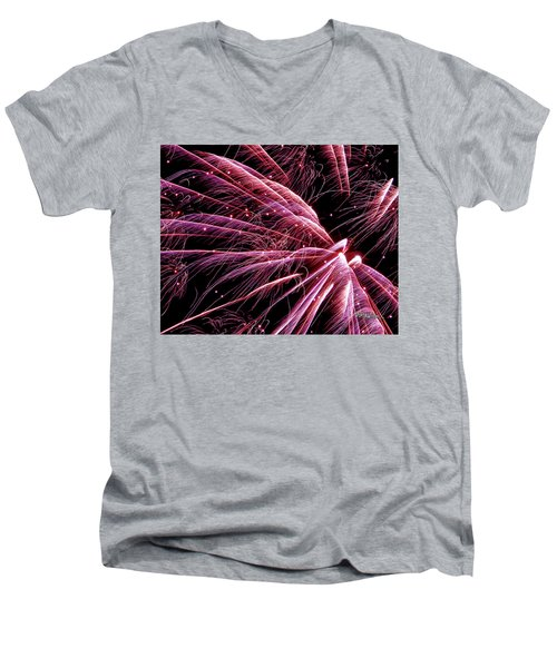 Men's V-Neck T-Shirt featuring the photograph Pink Flamingo Fireworks #0710 by Barbara Tristan