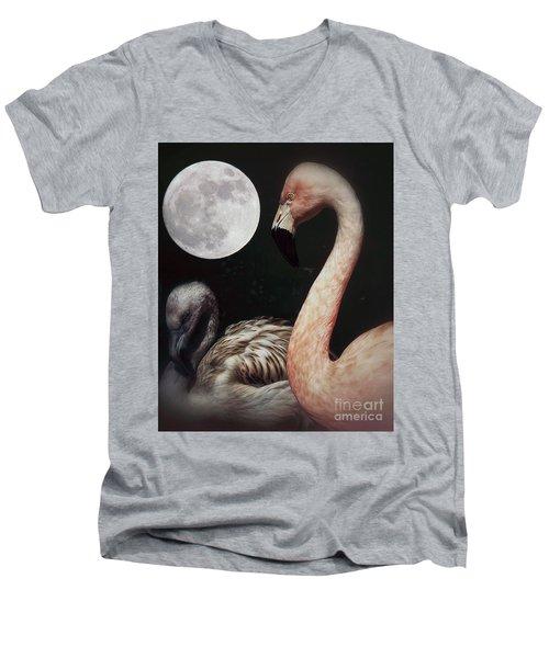 Pink Flamingo Moon 2 Men's V-Neck T-Shirt