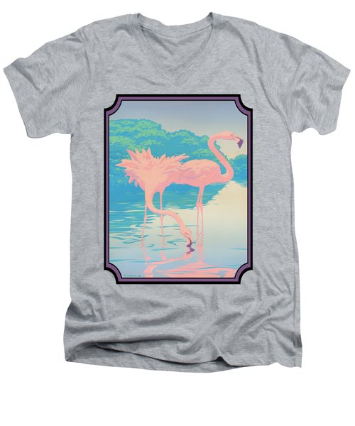 Pink Flamingos Abstract Retro Pop Art Nouveau Tropical Bird Art 80s 1980s Florida Decor Men's V-Neck T-Shirt