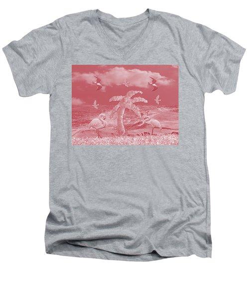 Pink Flamingo's Palms Men's V-Neck T-Shirt