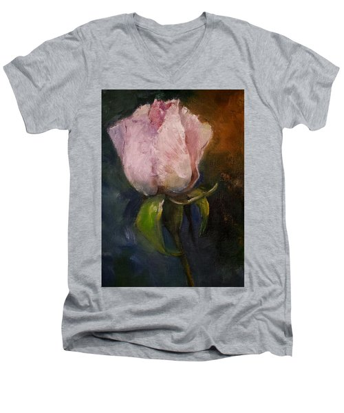 Pink Floral Bud Men's V-Neck T-Shirt