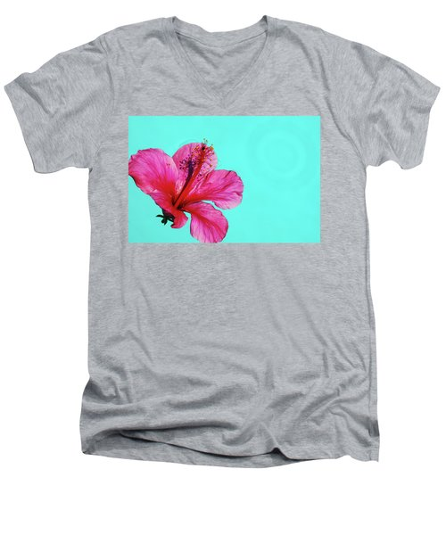 Pink Flower In Water Men's V-Neck T-Shirt