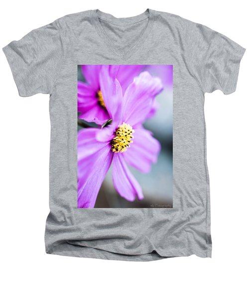 Pink Flower Men's V-Neck T-Shirt