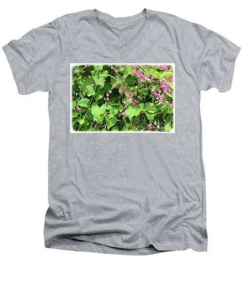 Men's V-Neck T-Shirt featuring the photograph Pink Flowering Vine1 by Megan Dirsa-DuBois