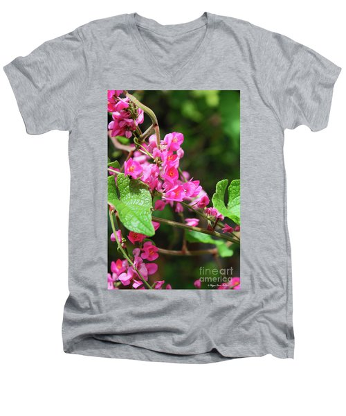 Men's V-Neck T-Shirt featuring the photograph Pink Flowering Vine3 by Megan Dirsa-DuBois