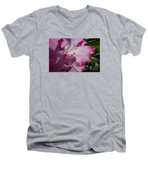 Pink Flowers 1 Men's V-Neck T-Shirt by Jean Bernard Roussilhe
