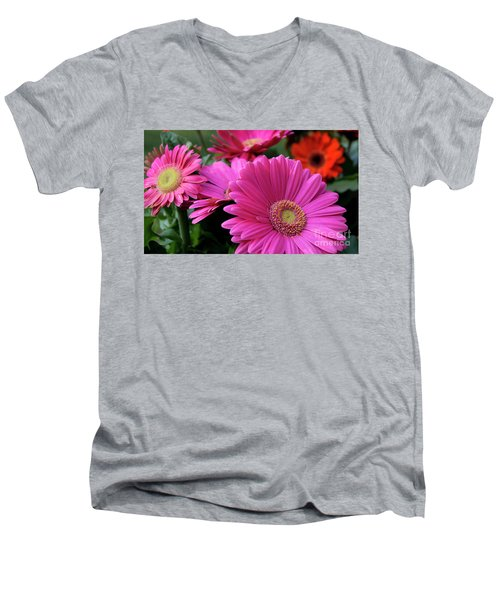 Men's V-Neck T-Shirt featuring the photograph Pink Flowers by Brian Jones
