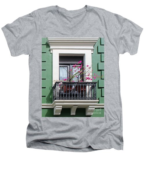 Pink Flowers On Balcony Men's V-Neck T-Shirt by Cheryl Del Toro