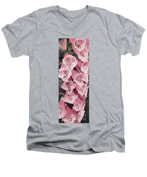 Pink Foxglove Men's V-Neck T-Shirt by Laurie Rohner