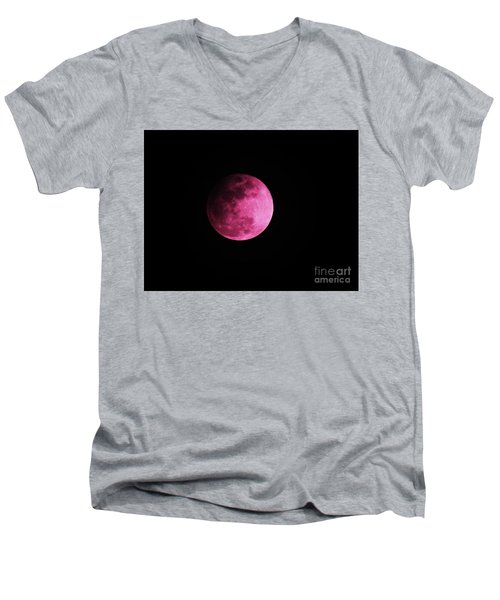 Men's V-Neck T-Shirt featuring the photograph Pink Full Moon In April 2017 by J L Zarek