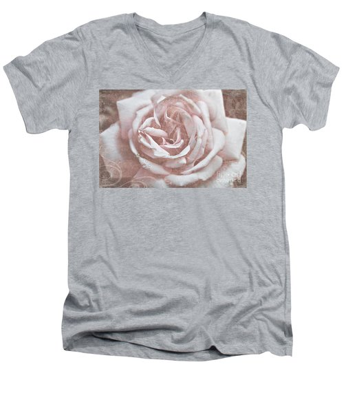 Pink Garden Rose Men's V-Neck T-Shirt
