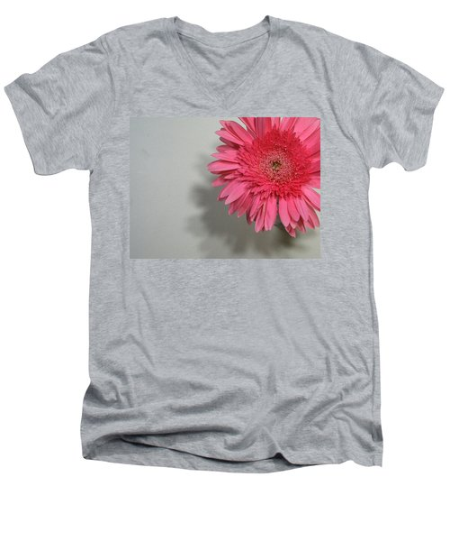 Pink Gerbera Men's V-Neck T-Shirt by Marna Edwards Flavell
