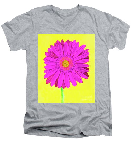 Pink Gerbera On Yellow, Watercolor Men's V-Neck T-Shirt by Irina Afonskaya