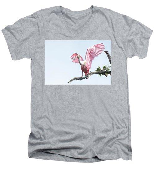 Pink Men's V-Neck T-Shirt
