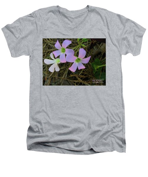 Men's V-Neck T-Shirt featuring the photograph Pink Glow by Donna Brown