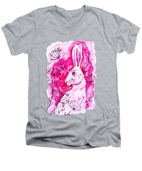 Pink Hare Men's V-Neck T-Shirt