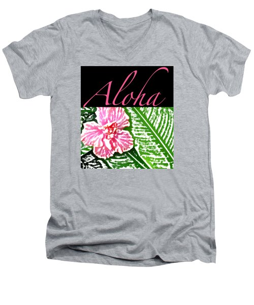 Pink Hibiscus Aloha Men's V-Neck T-Shirt by James Temple