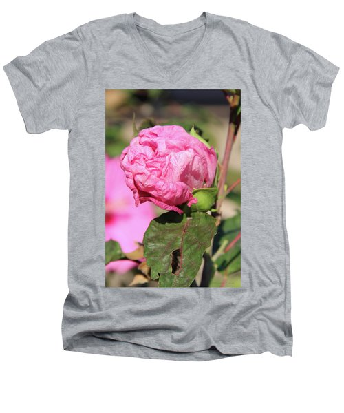 Pink Hibiscus Bud Men's V-Neck T-Shirt by Inspirational Photo Creations Audrey Woods
