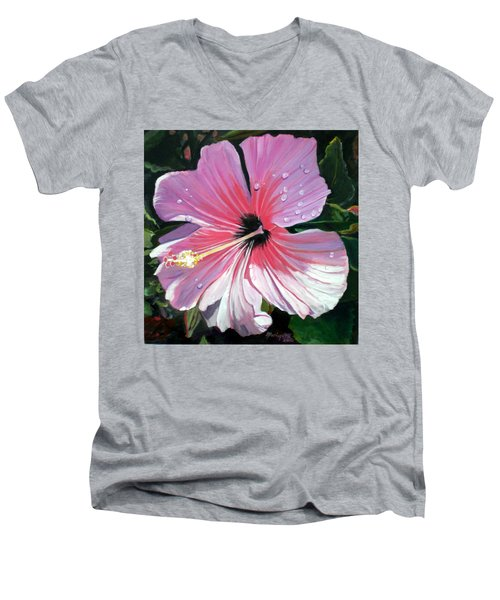 Pink Hibiscus With Raindrops Men's V-Neck T-Shirt by Marionette Taboniar
