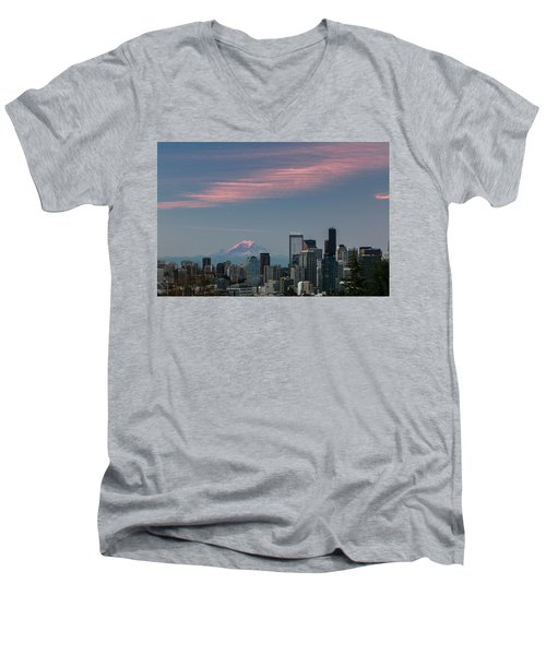 Pink Highlights Over Seattle-mt. Rainier Men's V-Neck T-Shirt by E Faithe Lester