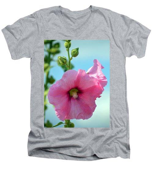 Pink Holyhock. Men's V-Neck T-Shirt by Terence Davis