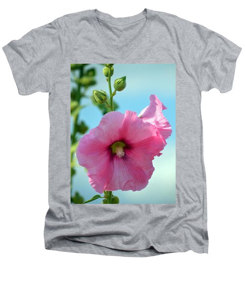 Pink Holyhock. Men's V-Neck T-Shirt