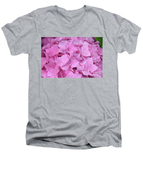 Pink Hydrangea Men's V-Neck T-Shirt by Elvira Ladocki