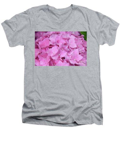 Pink Hydrangea Men's V-Neck T-Shirt