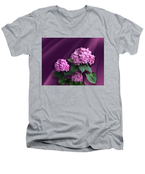 Pink Hydrangea Men's V-Neck T-Shirt