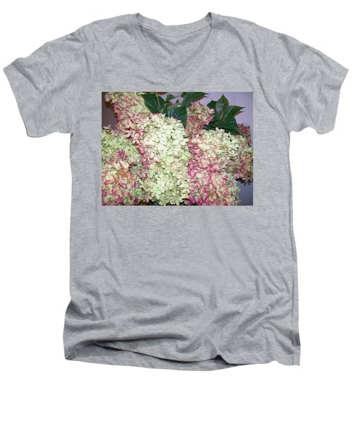 Men's V-Neck T-Shirt featuring the digital art Pink Hydrangeas by Barbara S Nickerson