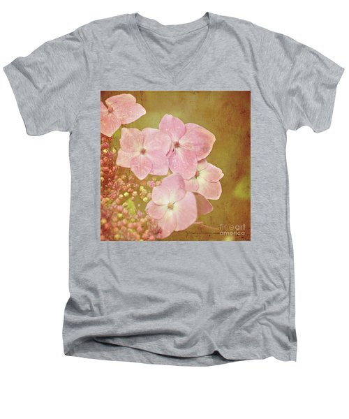 Men's V-Neck T-Shirt featuring the photograph Pink Hydrangeas by Lyn Randle