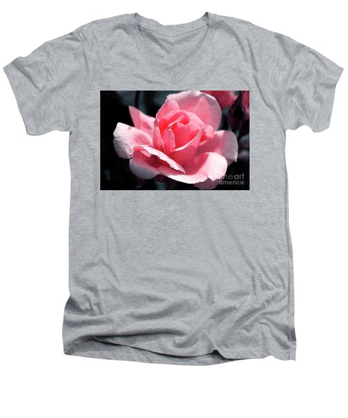 Pink In Light And Shadow Men's V-Neck T-Shirt by Rebecca Davis