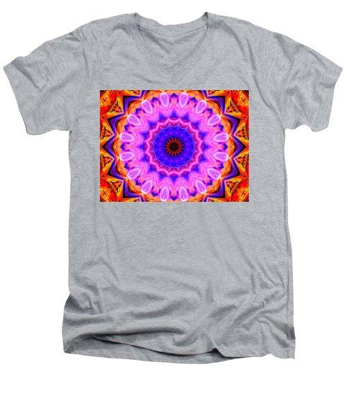 Pink Kaleidoscope Men's V-Neck T-Shirt