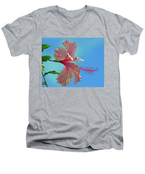 Pink Lady Hibiscus Men's V-Neck T-Shirt