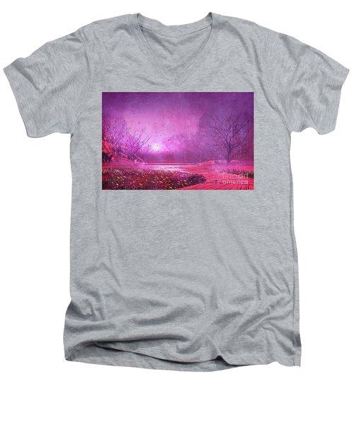 Pink Landscape Men's V-Neck T-Shirt