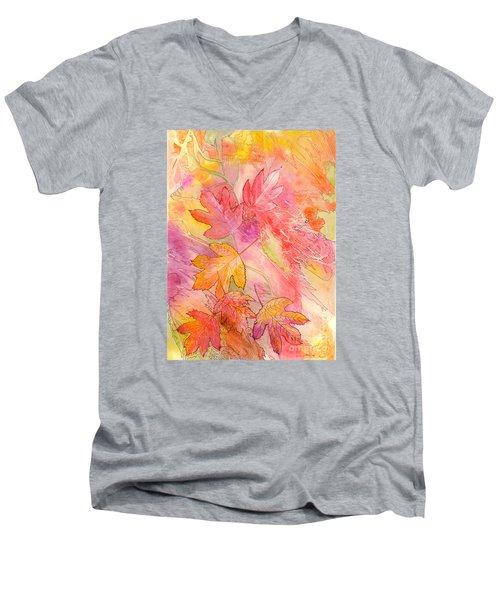 Pink Leaves Men's V-Neck T-Shirt by Nancy Cupp