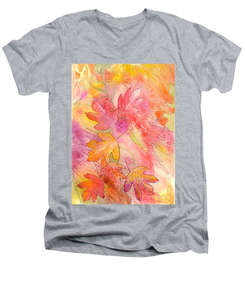 Pink Leaves Men's V-Neck T-Shirt