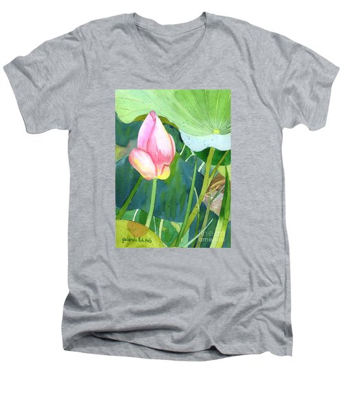 Pink Lotus Men's V-Neck T-Shirt