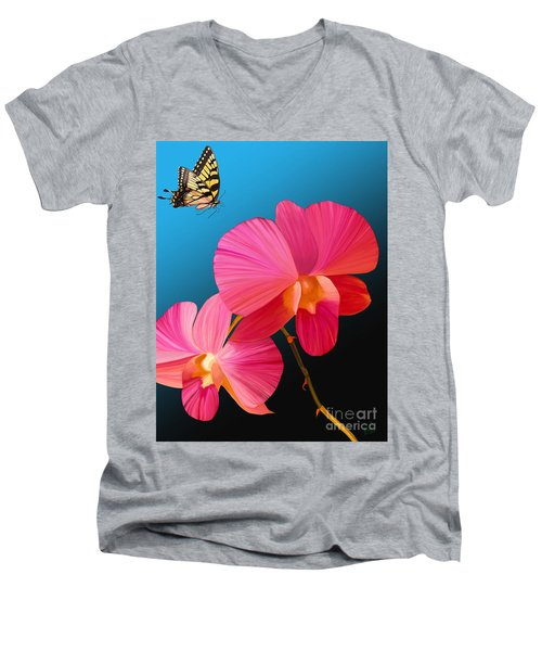 Men's V-Neck T-Shirt featuring the painting Pink Lux Butterfly by Rand Herron