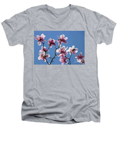 Pink Magnolias  Men's V-Neck T-Shirt