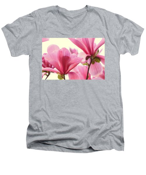 Pink Magnolias Men's V-Neck T-Shirt by Peggy Collins