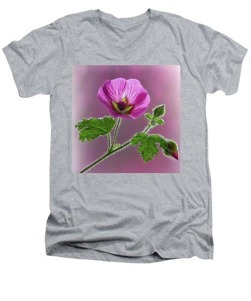 Pink Mallow Flower Men's V-Neck T-Shirt