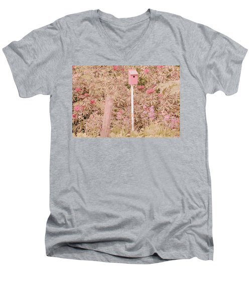 Men's V-Neck T-Shirt featuring the photograph Pink Nesting Box by Bonnie Bruno