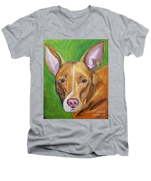 Men's V-Neck T-Shirt featuring the painting Pink Nose by Ania M Milo