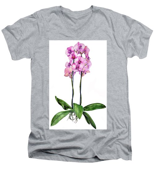 Men's V-Neck T-Shirt featuring the painting Pink Orchids by Heidi Kriel