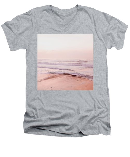 Men's V-Neck T-Shirt featuring the photograph Pink Pacific Beach by Bonnie Bruno
