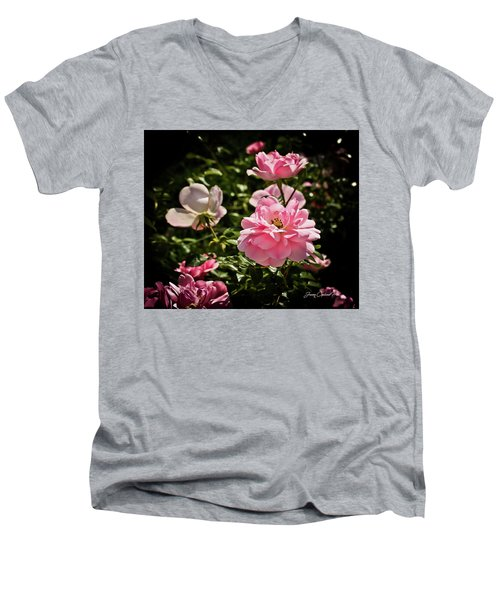 Men's V-Neck T-Shirt featuring the photograph Pink Passion  by Joann Copeland-Paul