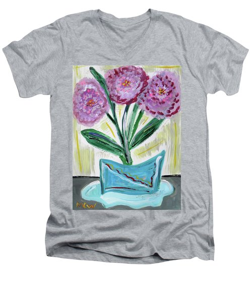 Pink Peonies-gray Table Men's V-Neck T-Shirt